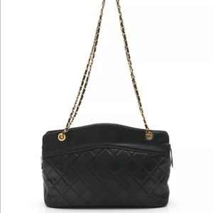 CHANEL MATELASSE chain shoulder bag lambskin